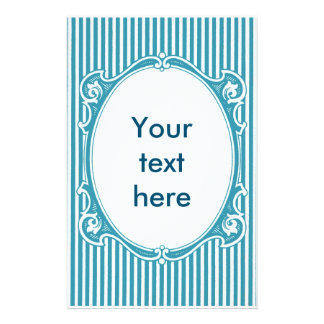 Art nouveau crazy frame shabby chic blue custom stationery