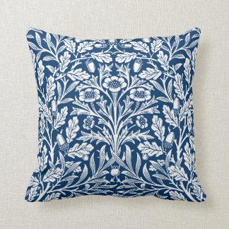 Art Nouveau Floral Damask, Cobalt Blue and White Cushion