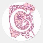 Art Nouveau Floral Monogram C Classic Round Sticker