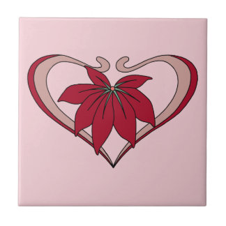 Art Nouveau heart and flower love amaranth red Small Square Tile
