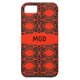 Art nouveau in black lace over red with monogram case for the iPhone 5