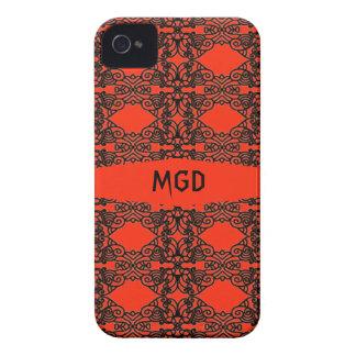 Art nouveau in black lace with monogram Case-Mate iPhone 4 case