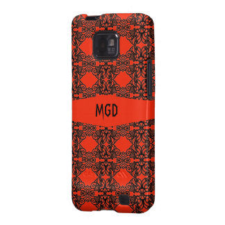 Art nouveau in gothic black lace with monogram samsung galaxy s2 case