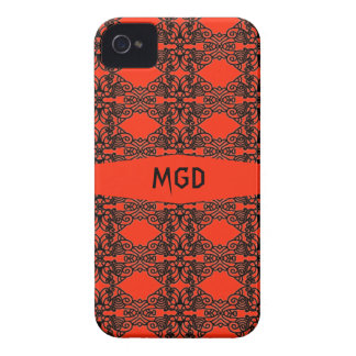 Art nouveau in gothic black lace with monogram iPhone 4 case