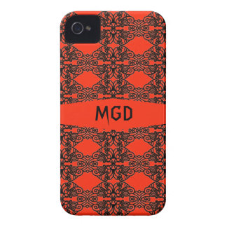 Art nouveau in gothic black lace with monogram iPhone 4 Case-Mate cases