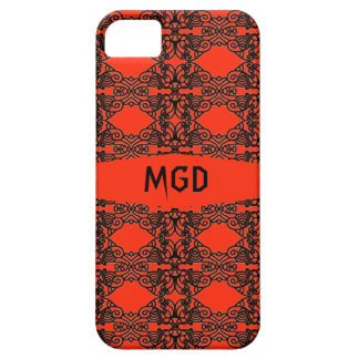 Art nouveau in gothic black lace with monogram iPhone 5 covers