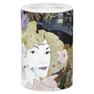 Art Nouveau Lady & Flowers City Floral Toothbrush Holders