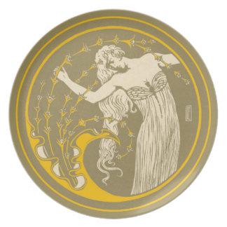 Art Nouveau Maiden Melamine Plate