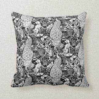 Art Nouveau Peacock Print, Black and White Cushion
