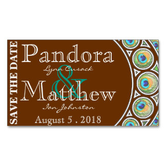 Art Nouveau Peacock Save the Date Magnets Magnetic Business Cards