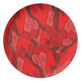 Art Nouveau profusion of red tulips Dinner Plates