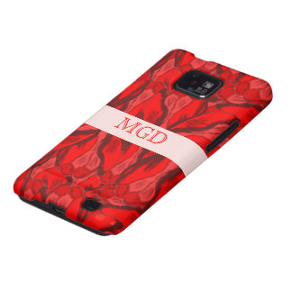 Art Nouveau profusion of red tulips with monogram Galaxy SII Cases