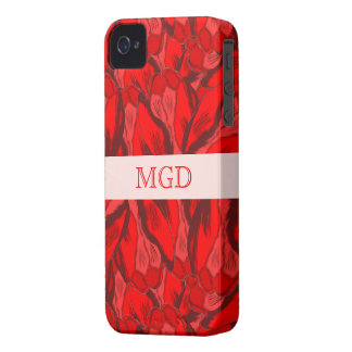 Art Nouveau profusion of red tulips with monogram iPhone 4 Case-Mate Case