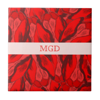Art Nouveau profusion of red tulips with monogram Small Square Tile