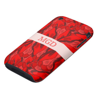 Art Nouveau profusion of red tulips with monogram Tough iPhone 3 Case