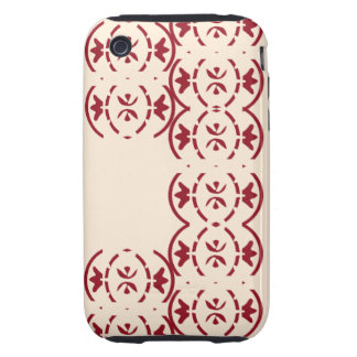 Art nouveau repeating red pattern on antique white tough iPhone 3 case