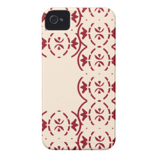 Art nouveau repeating red pattern on antique white iPhone 4 Case-Mate cases