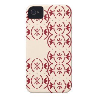 Art nouveau repeating red pattern on antique white iPhone 4 covers