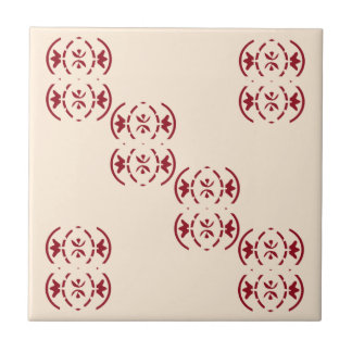 Art nouveau repeating red pattern on antique white small square tile