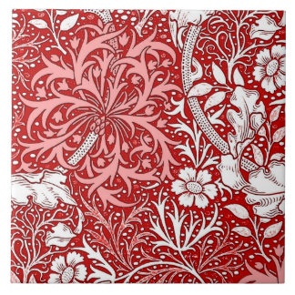 Art Nouveau Seaweed Floral, Deep Red and White Large Square Tile