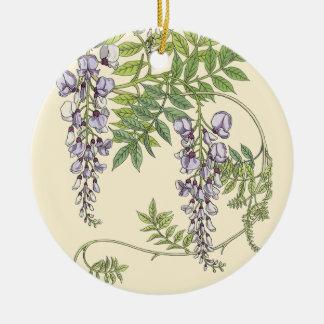 Art nouveau wisteria christmas ornament