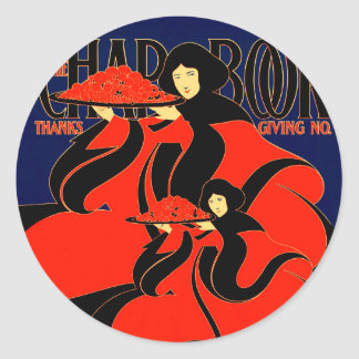 Art Nouveau Women at Thanksgiving Classic Round Sticker