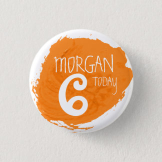 Art party paint dab orange name age button