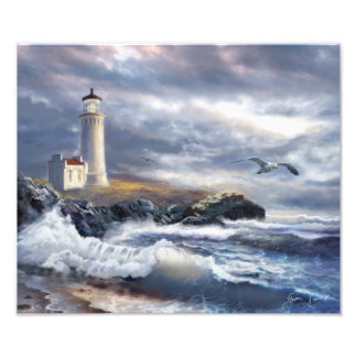 Art Print North Head Lighthouse and Crushing Waves