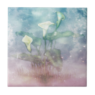 Art Printed Tile with Lilies