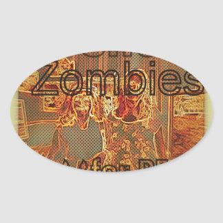 """""""Art Show Zombies for Peace"""" Oval Sticker"""