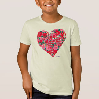 Art Tshirt: Hibiscus Heart Kids Top. Pink T-Shirt