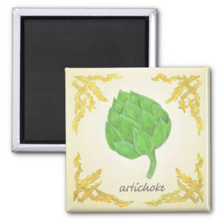 artichoke with leaves classic design magnet
