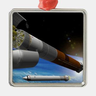 Artist rendition of a heavy-lift rocket christmas ornament