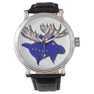 Artistic Alaska state flag elk head wrist watch