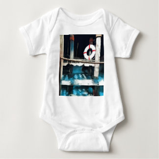 Artistic Boat Dock With Lifesaving Ring Baby Bodysuit