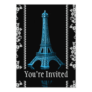 """Artistic Eiffel Tower With Floral Borders 5"""" X 7"""" Invitation Card"""