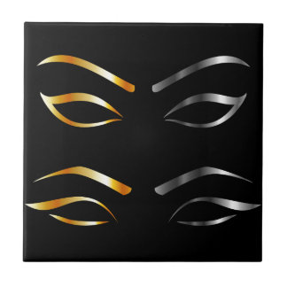 Artistic Eyes with golden and silver eyebrows Tile