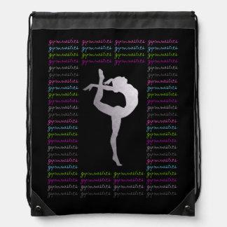 Artistic Gymnastics Colorful Typography Drawstring Bag