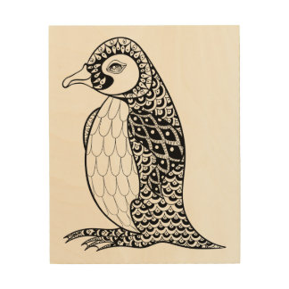Artistic King Penguin Zendoodle 5 Wood Wall Art