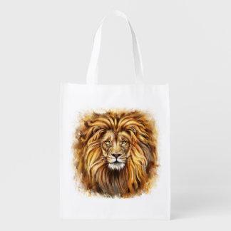 Artistic Lion Face Reusable Grocery Bag