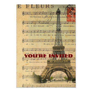 """Artistic music notes Paris Eiffel Tower 5"""" X 7"""" Invitation Card"""