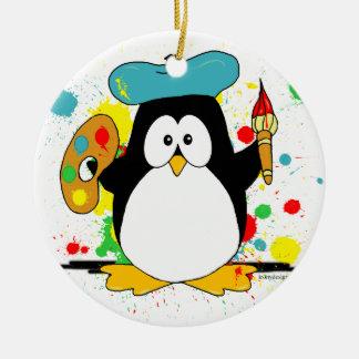 Artistic Penguin Christmas Ornament