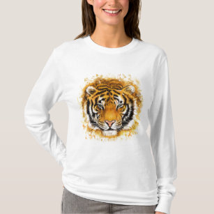Artistic Tiger Face White Long Sleeve T-Shirt