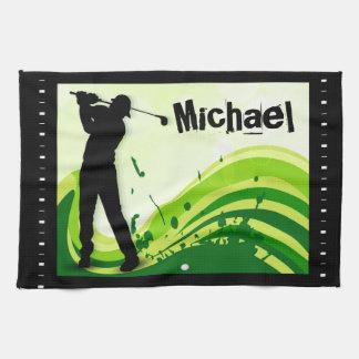 Artsy Golf Player Kitchen Towel