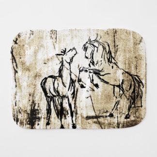 Artsy Horse Head Sketch Burp Cloth