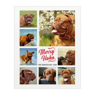 Artsy Merry Ho Ho Family Photo Collage Template Acrylic Wall Art