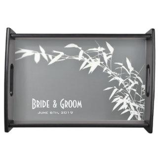 Artsy Oriental Zen Bamboo Shrub Gray White Wedding Serving Tray
