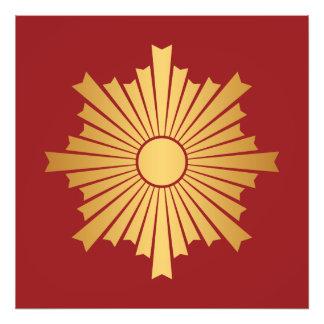 Asahiko Kamon Japanese Family Crest Gold on Red Photo Print