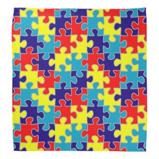 ASD Aspergers Autism Awareness Puzzle Pattern Bandana