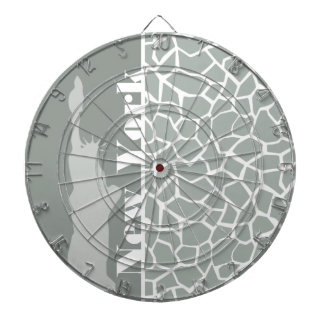 Ash Gray; Grey Giraffe Animal Print; New York Dartboard